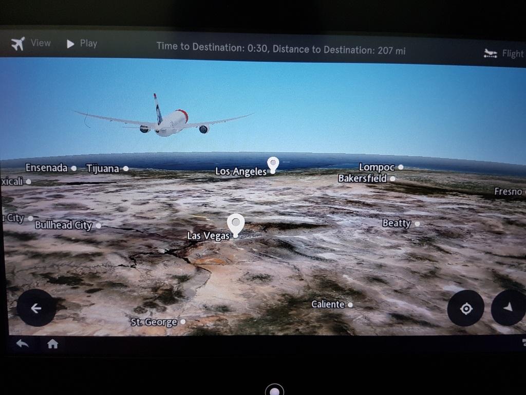 Los Angeles en approche sur notre écran à bord du dreamliner